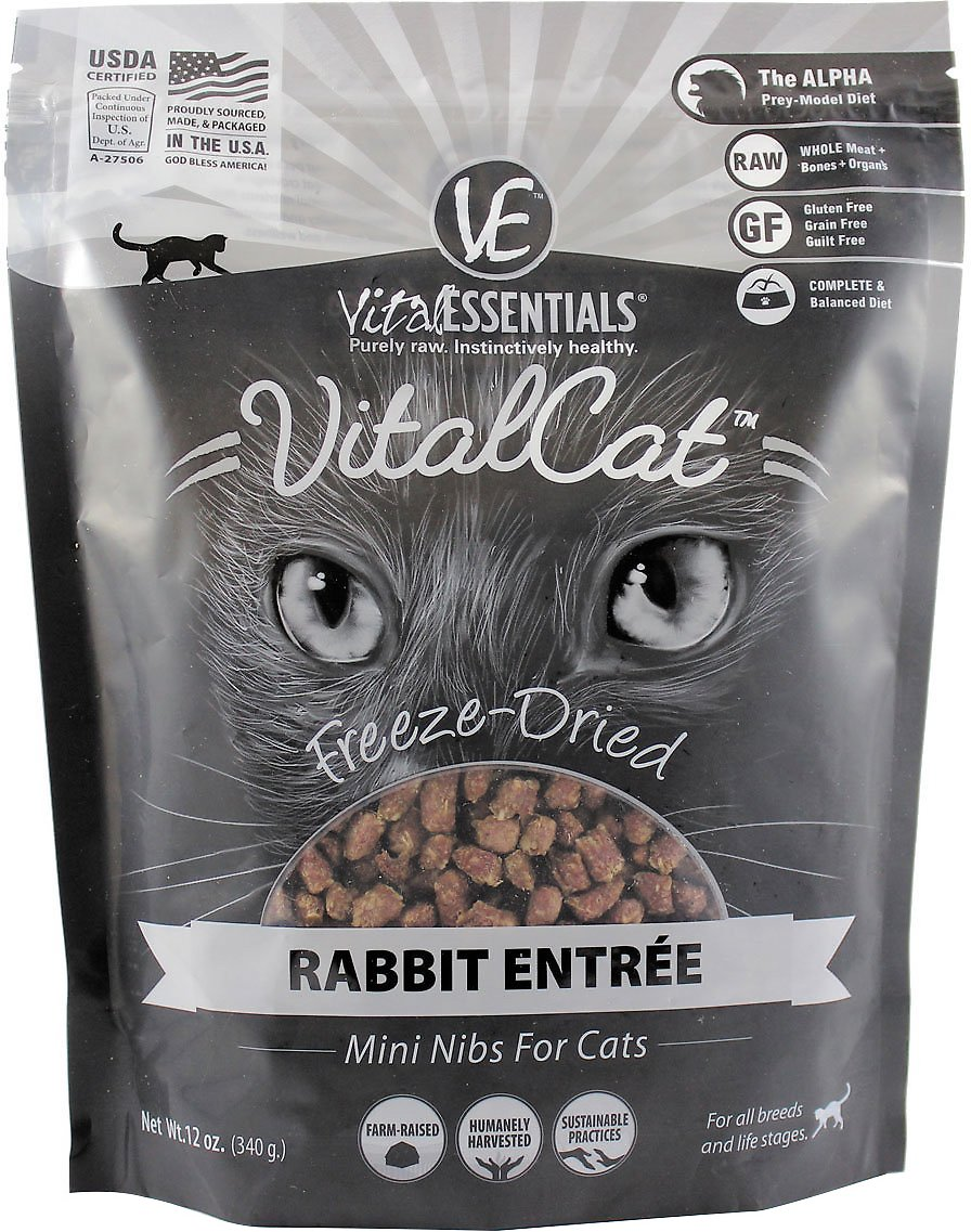 Vital Essentials Vital Cat Rabbit Mini Nibs Entree Freeze-Dried Cat Food, 12-oz bag