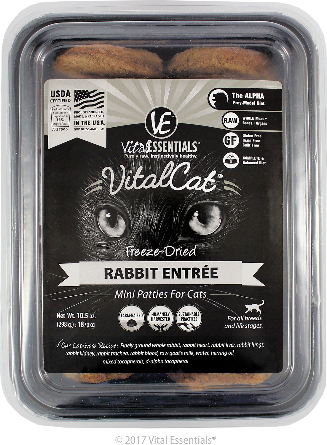 Vital Essentials Vital Cat Rabbit Mini Patties Entree Freeze-Dried Cat Food, 10.5-oz tub
