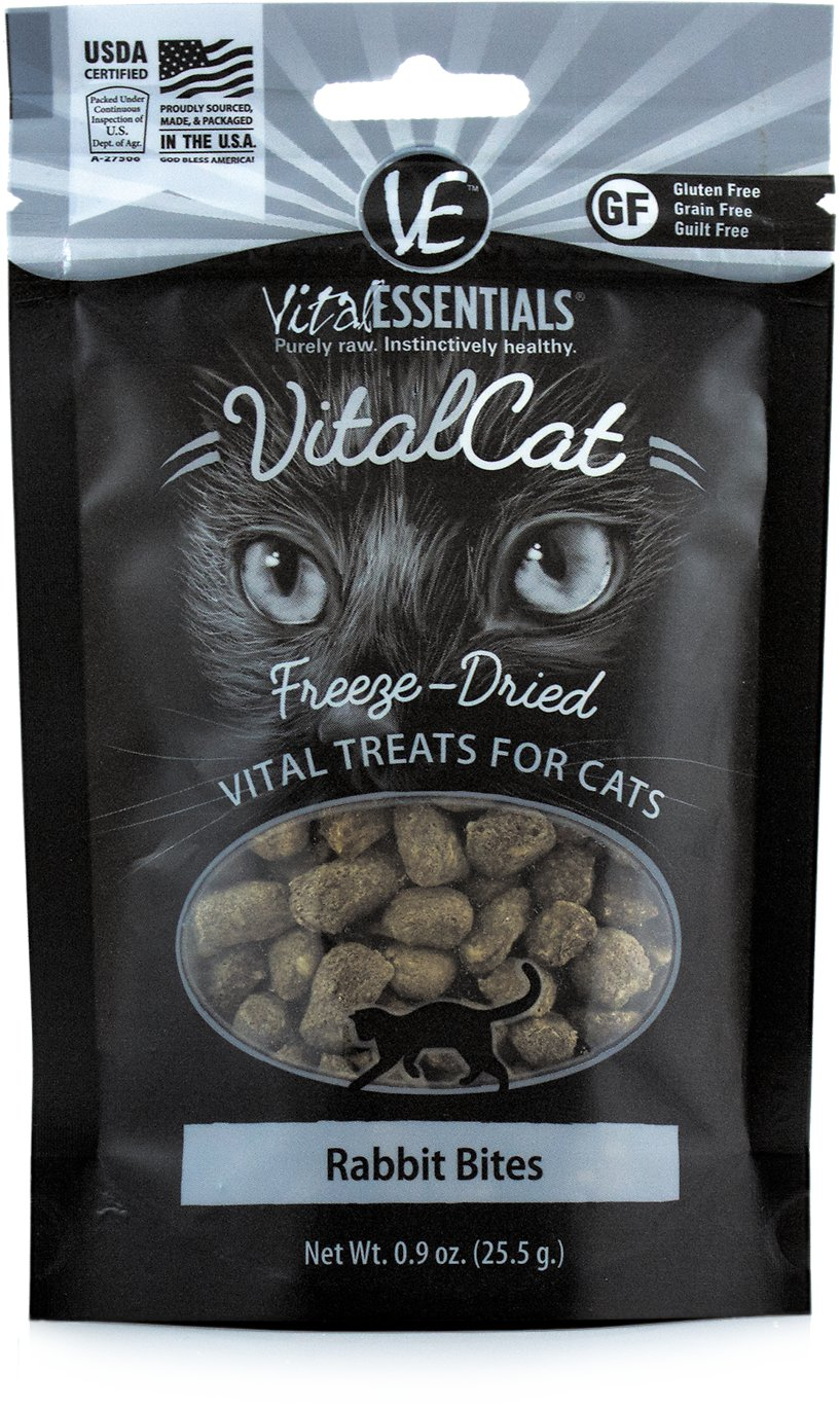 Vital Essentials Vital Cat Treats Rabbit Bites Freeze-Dried Cat Treats, 0.9-oz bag