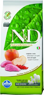 Farmina Natural & Delicious Wild Boar Grain-Free Formula Dry Dog Food, 5.5-lb bag