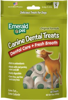 Emerald Pet Canine Dental Treats Fresh Breath Formula Dog Treats, 15-oz, Small