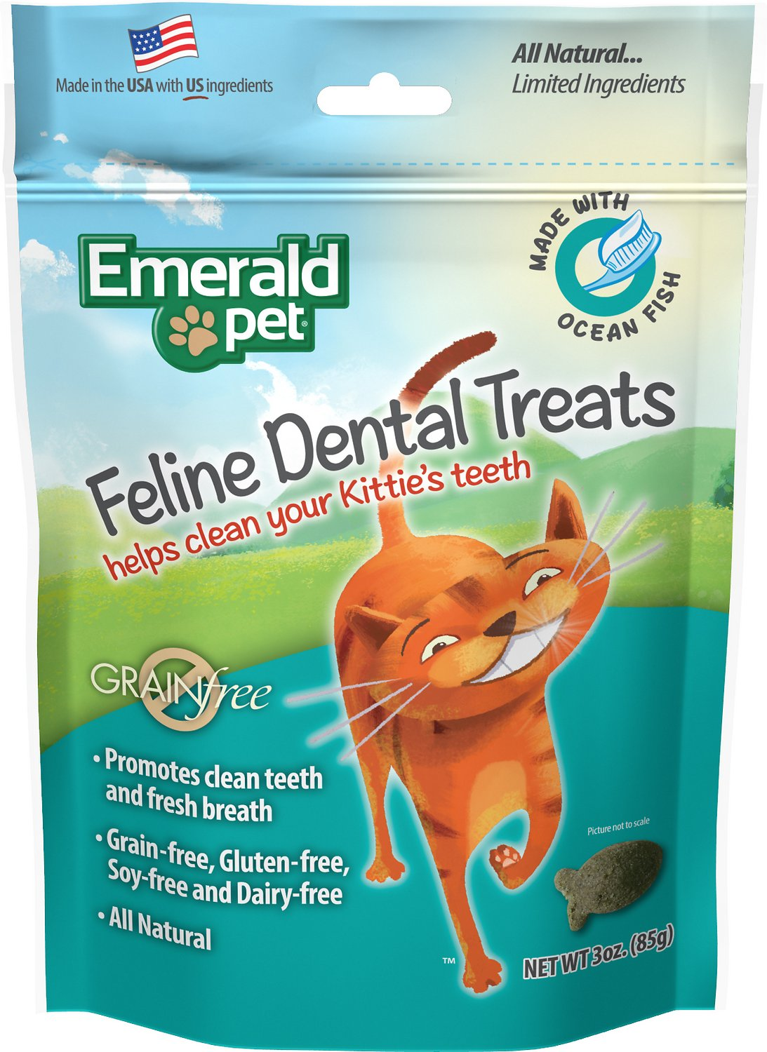 Emerald Pet Feline Dental Treats with Ocean Fish Cat Treats, 3-oz Bag