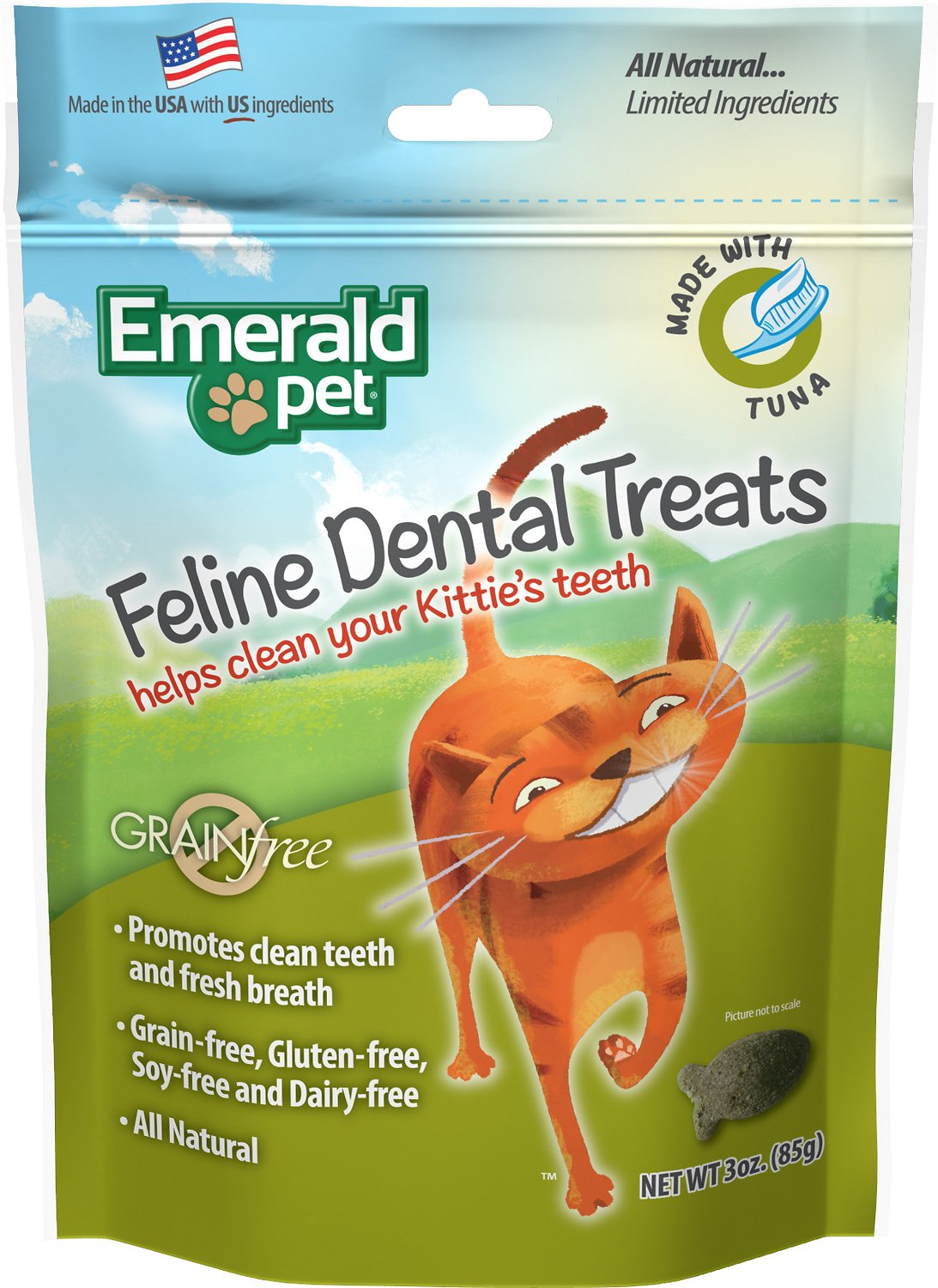 Emerald Pet Feline Dental Treats with Tuna Cat Treats, 3-oz Bag