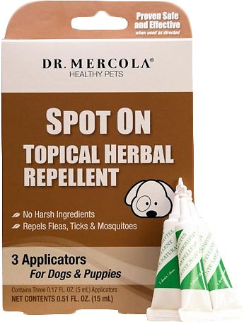 Dr. Mercola Spot On Topical Flea, Tick & Mosquito Repellent for Puppies & Dogs, 3 Treatments