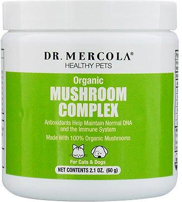 Dr. Mercola Organic Mushroom Complex Dog & Cat Supplement, 2.1-oz jar