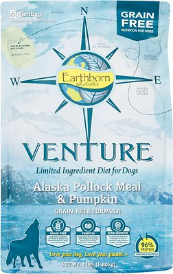 Earthborn Holistic Venture Alaska Pollock Meal & Pumpkin Limited Ingredient Diet Grain-Free Dry Dog Food Weights: 4.0 pounds, Size: 4-lb bag