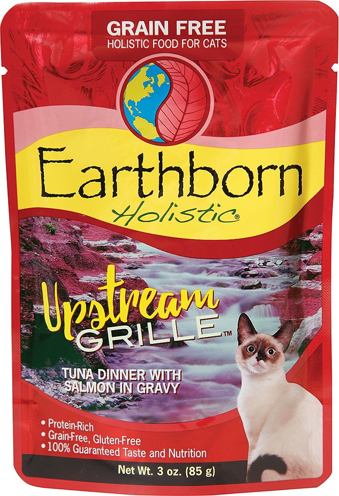 Earthborn Holistic Upstream Grille Tuna Dinner with Salmon in Gravy Grain-Free Cat Food Pouches, 3-oz pouch, case of 24