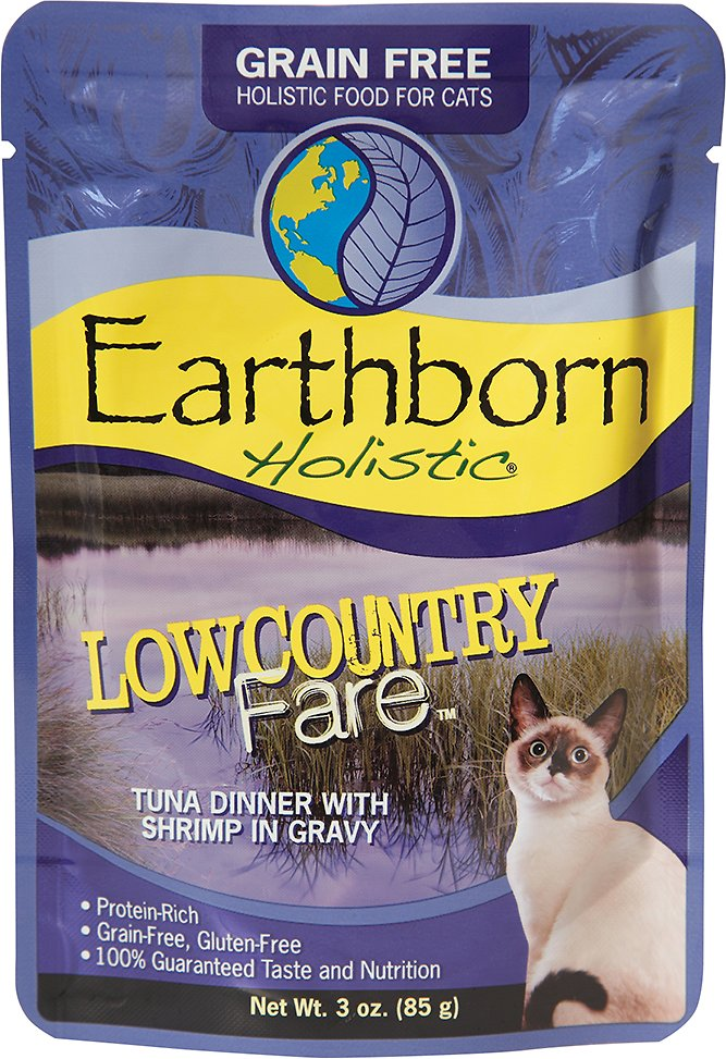 Earthborn Holistic Lowcountry Fare Tuna Dinner with Shrimp in Gravy Grain-Free Cat Food Pouches, 3-oz pouch
