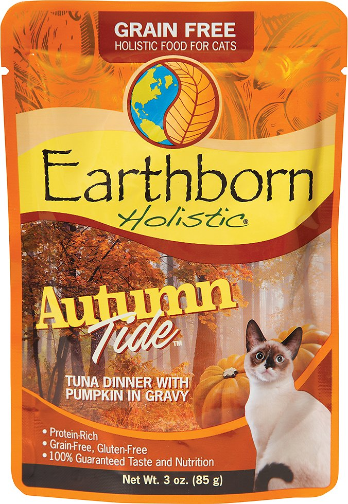 Earthborn Holistic Autumn Tide Tuna Dinner with Pumpkin in Gravy Grain-Free Cat Food Pouches, 3-oz pouch