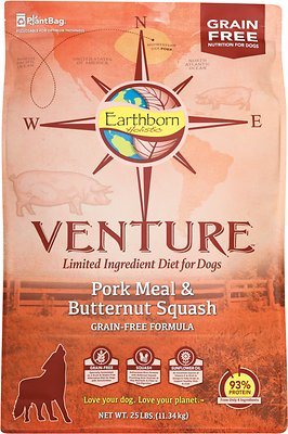 Earthborn Holistic Venture Pork Meal & Butternut Squash Limited Ingredient Diet Grain-Free Dry Dog Food, 25-lb