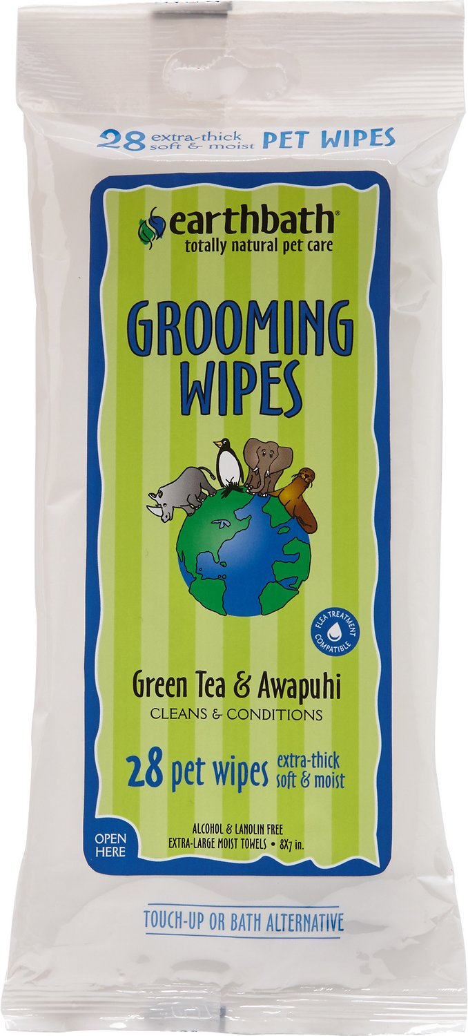 Earthbath Green Tea & Awapuhi Travel Grooming Wipes for Dogs & Cats, 28 count