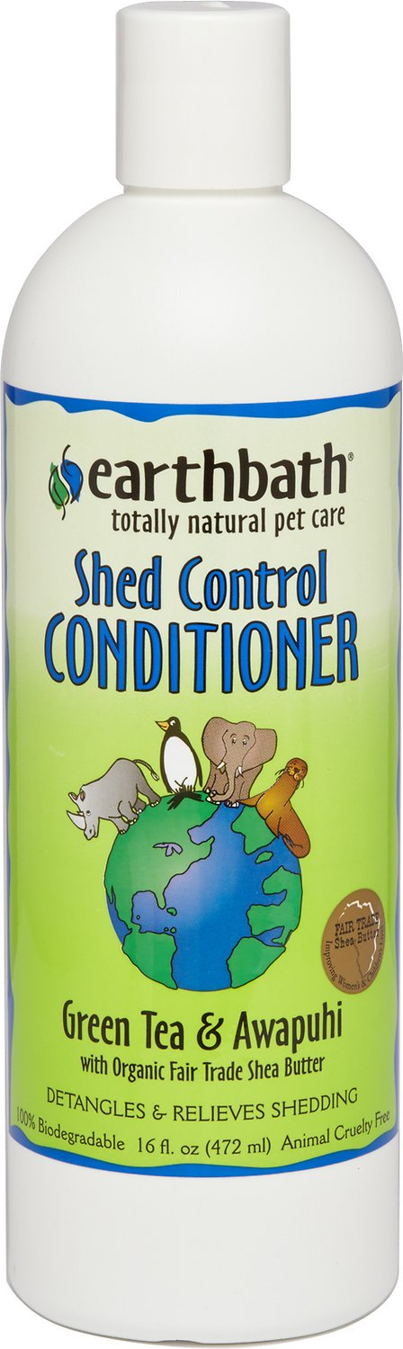 Earthbath Shed Control Green Tea & Awapuhi Dog & Cat Conditioner, 16-oz bottle
