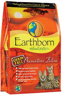Earthborn Holistic Primitive Feline Grain-Free Natural Dry Cat & Kitten Food Weights: 5.0 pounds, Size: 5-lb bag