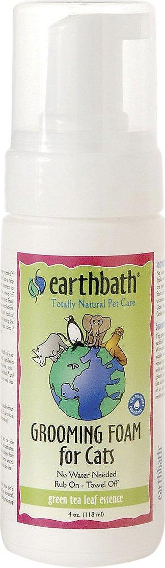 Earthbath Waterless Green Tea Grooming Foam for Cats, 4-oz bottle