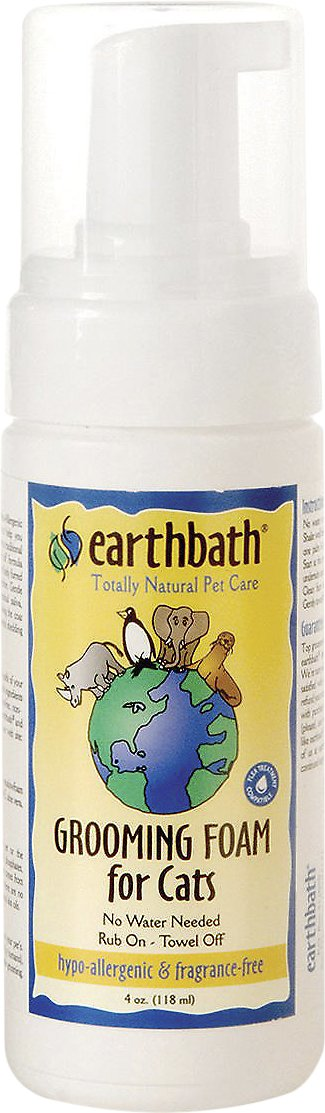 Earthbath Hypo-Allergenic Grooming Foam for Cats, 4-oz bottle
