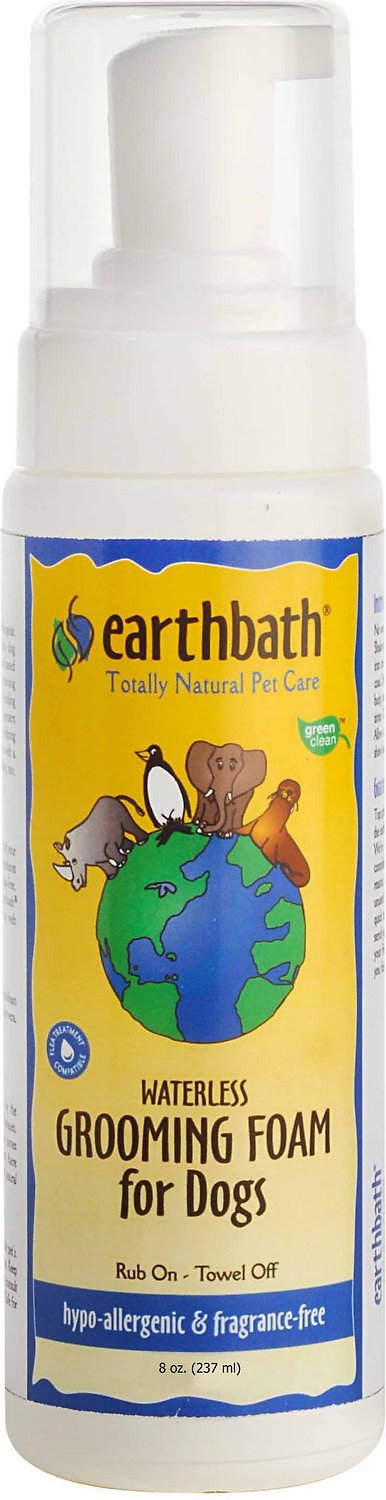 Earthbath Waterless Hypo-Allergenic Grooming Foam for Dogs, 8-oz bottle