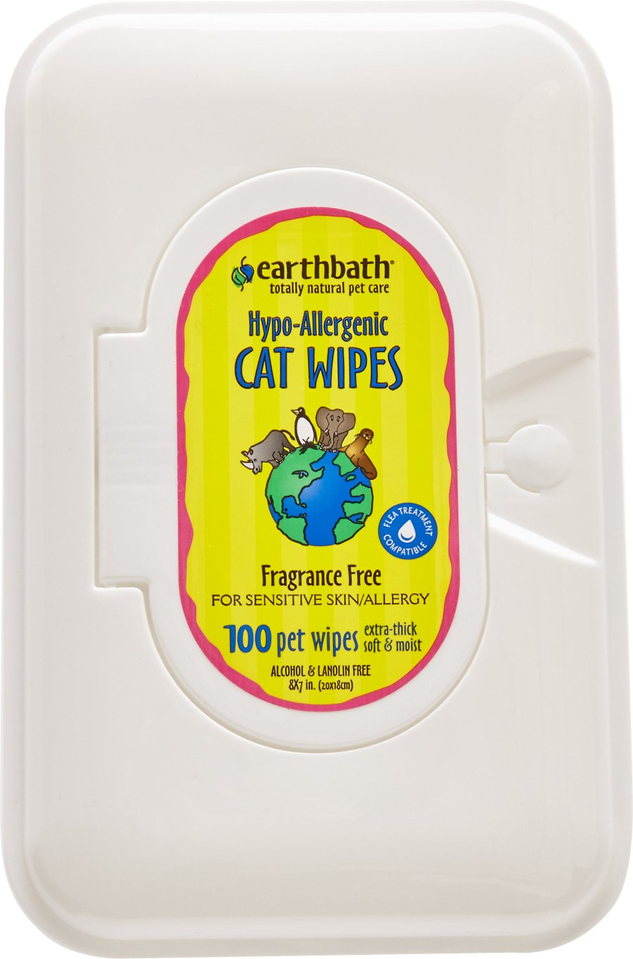 Earthbath Hypo-Allergenic Grooming Wipes for Cats, 100 count Image
