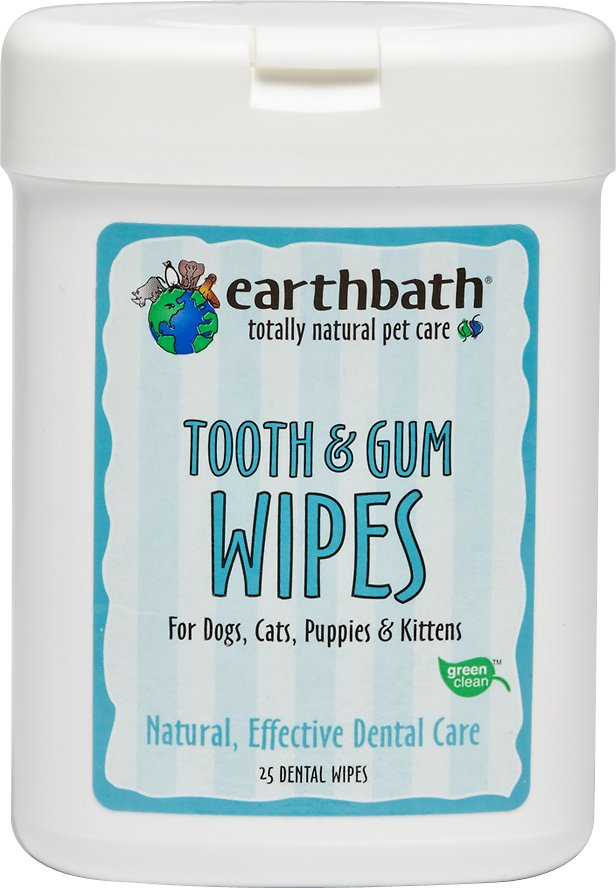 Earthbath Specialty Tooth & Gum Wipes for Dogs & Cats, 25-count