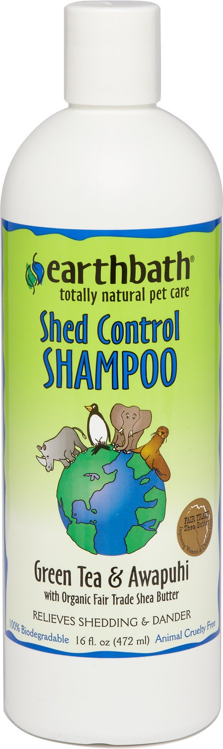 Earthbath Shed Control Green Tea & Awapuhi Dog & Cat Shampoo, 16-oz bottle