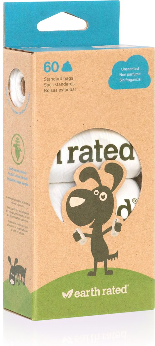 Earth Rated PoopBags Unscented Vegetable-Based Bags Refill Pack, 60 count