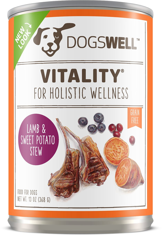 Dogswell Vitality Lamb & Sweet Potato Stew Recipe Grain-Free Canned Dog Food, 13-oz
