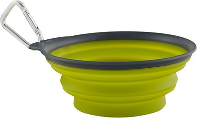Dexas Popware for Pets Collapsible Travel Cup with Carabiner, Gray/Green, Large