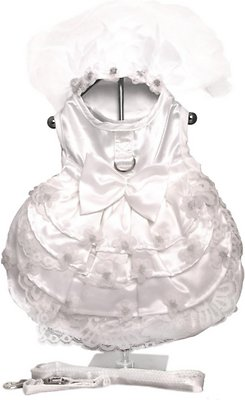 Doggie Design Dog Dress with Matching Leash, Wedding Dress White Satin & Lace, Large