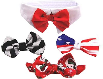 Doggie Design Dog Bow Tie, White Collar Set with 4 Interchangeable Bows, Small
