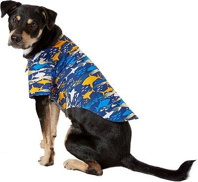 Doggie Design Hawaiian Camp Shirt for Dogs, Island Shark, Large