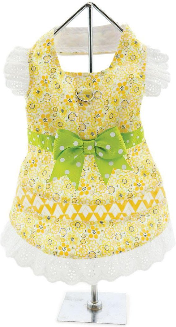 Doggie Design Dog Dress with Matching Leash, Emily Yellow Floral & Lace, Large