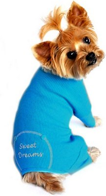 Doggie Design Thermal Pajamas for Dogs, Sweet Dreams, Blue, X-Small