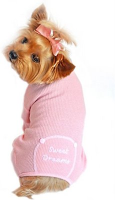 Doggie Design Thermal Pajamas for Dogs, Sweet Dreams, Pink, Large