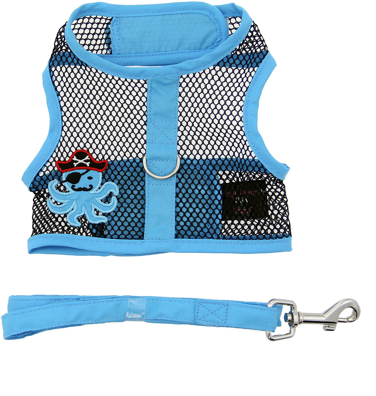 Doggie Design Cool Mesh Dog Harness with Matching Leash, Under the Sea Pirate Octopus, Small