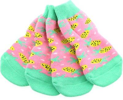 Doggie Design Non-Skid Dog Socks, Pineapple, Medium