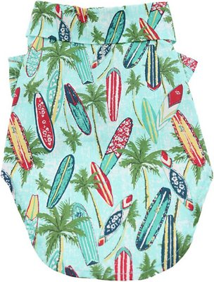 Doggie Design Hawaiian Camp Shirt for Dogs, Surfboard & Palms, Small