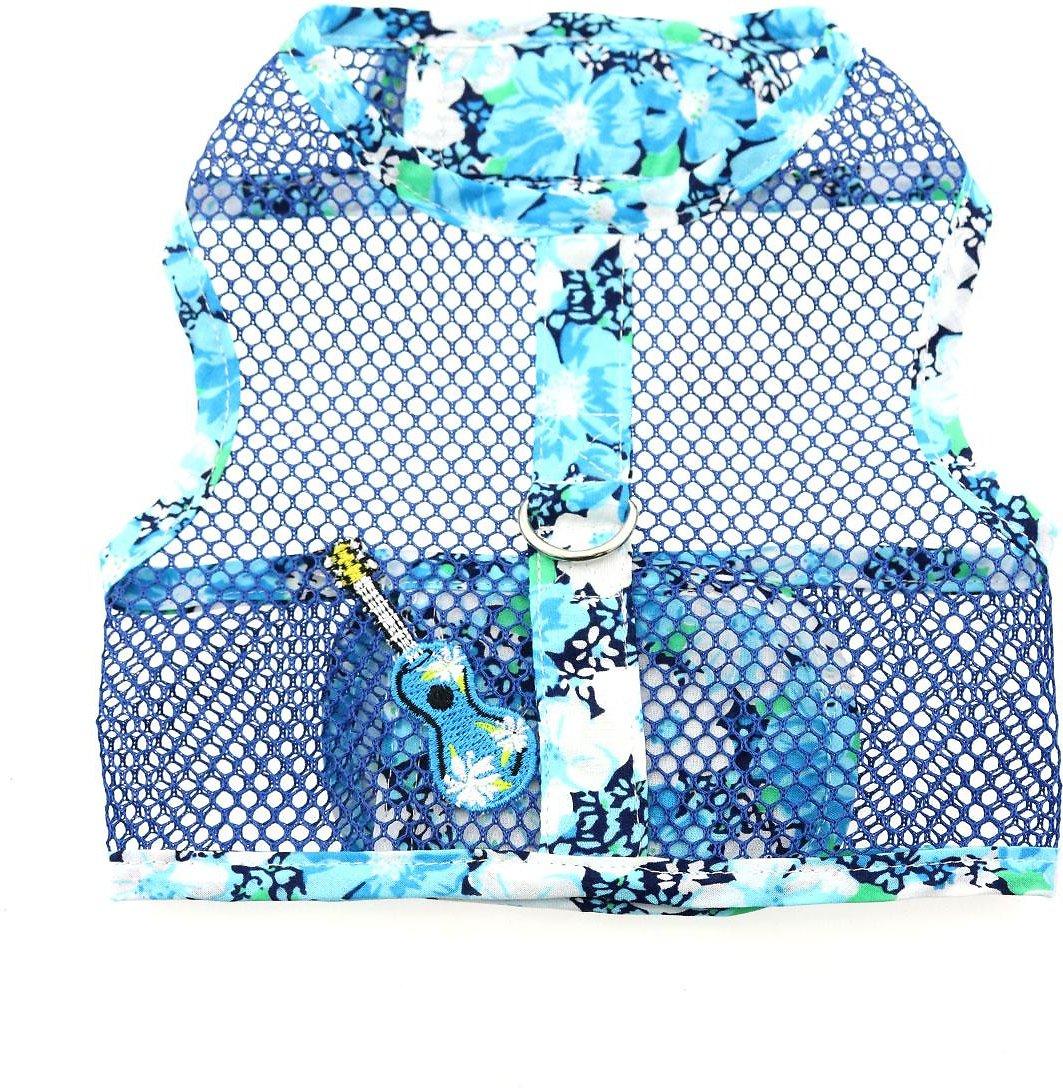 Doggie Design Cool Mesh Dog Harness with Matching Leash, Hawaiian Ukulele Blue, X-Small