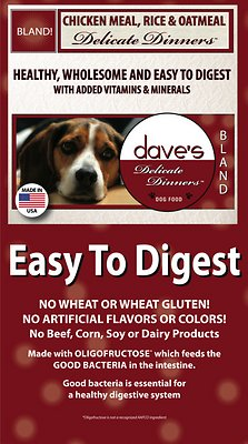 Dave's Dog Food Delicate Dinners Chicken Meal, Rice & Oatmeal Dry Dog Food, 4-lb bag