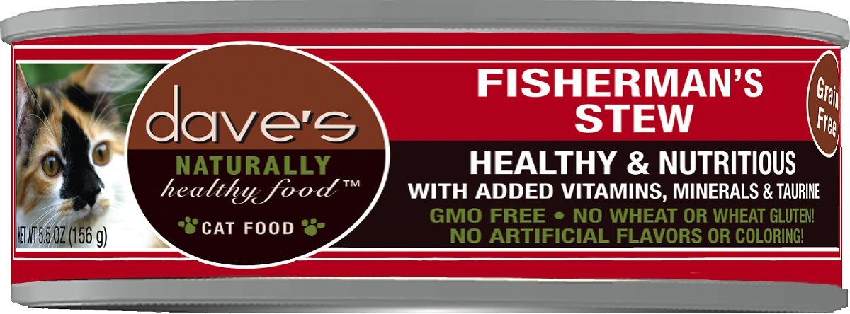 Dave's Cat Food Naturally Healthy Grain-Free Fisherman's Stew Canned Cat Food, 5.5-oz