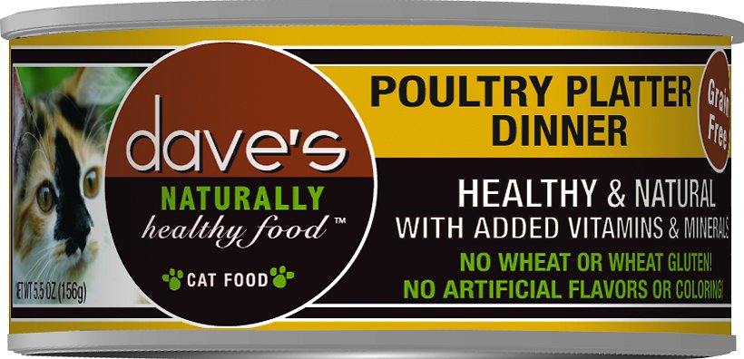 Dave's Cat Food Naturally Healthy Grain-Free Poultry Platter Dinner Canned Cat Food, 5.5-oz