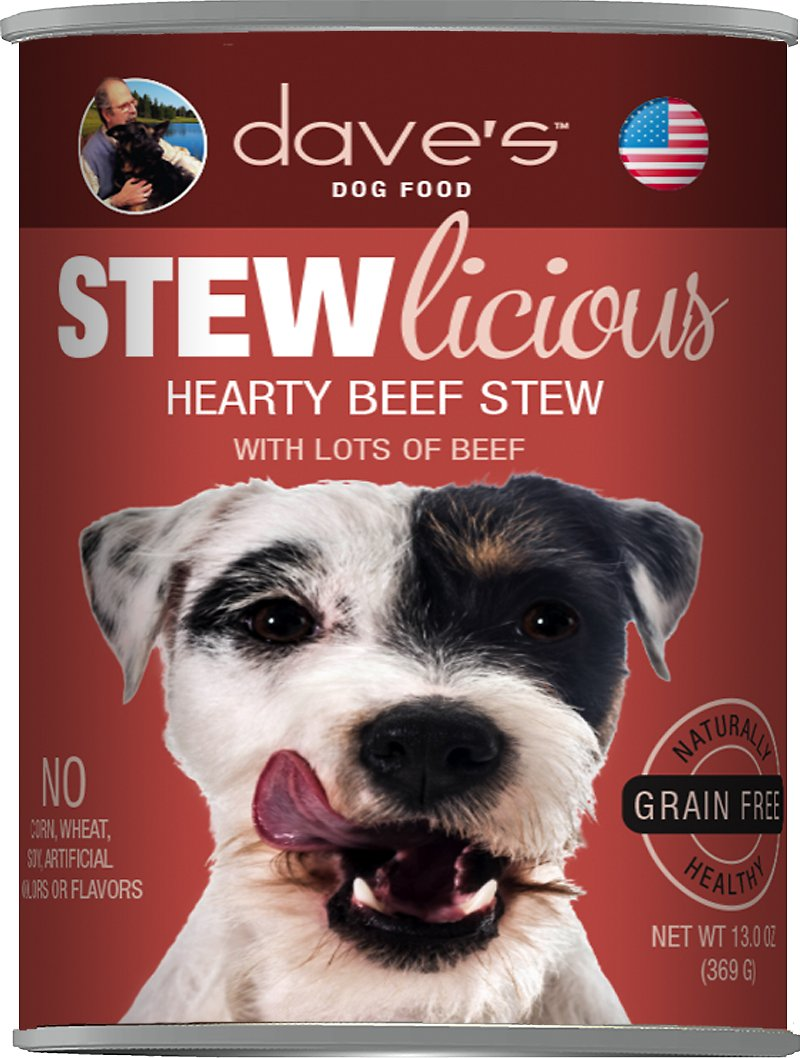 Dave's Dog Food Stewlicious Grain-Free Hearty Beef Stew Canned Dog Food, 13-oz