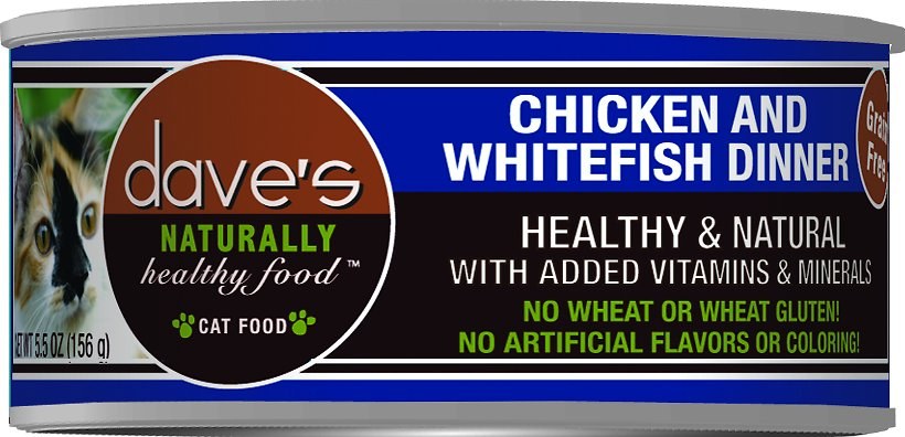 Dave's Cat Food Naturally Healthy Grain-Free Chicken & Whitefish Dinner Canned Cat Food, 3-oz