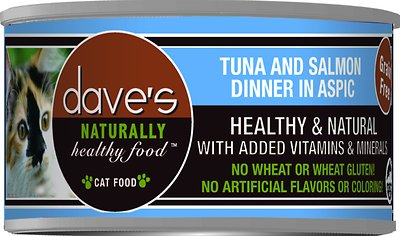 Dave's Cat Food Naturally Healthy Grain-Free Tuna & Salmon Dinner in Aspic Canned Cat Food, 3-oz, case of 24