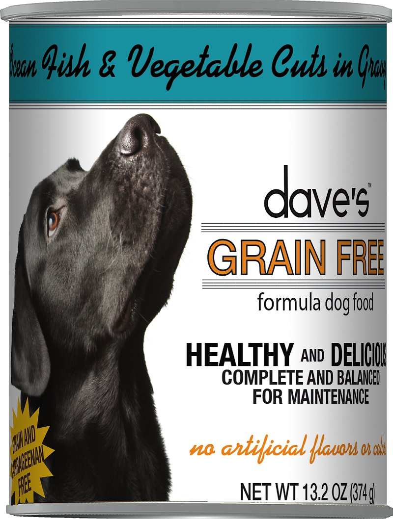 Dave's Dog Food Grain-Free Ocean Fish & Vegetable Cuts in Gravy Canned Dog Food, 13-oz
