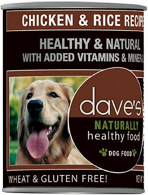 Dave's Dog Food Naturally Healthy Chicken & Rice Recipe Canned Dog Food, 13.2-oz, case of 12