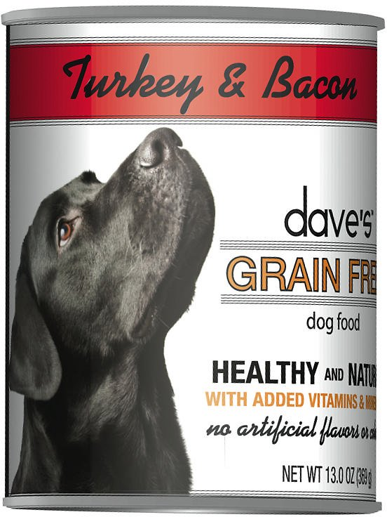 Dave's Dog Food Grain-Free Turkey & Bacon Recipe Canned Dog Food, 13-oz