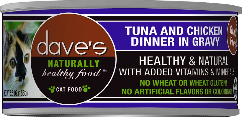 Dave's Cat Food Naturally Healthy Grain-Free Tuna & Chicken Dinner in Gravy Canned Cat Food, 3-oz