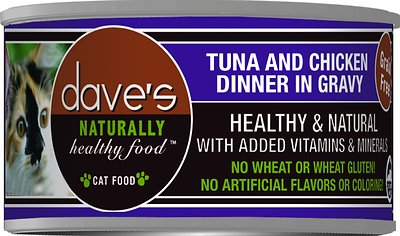 Dave's Cat Food Naturally Healthy Grain-Free Tuna & Chicken Dinner in Gravy Canned Cat Food, 3-oz, case of 24
