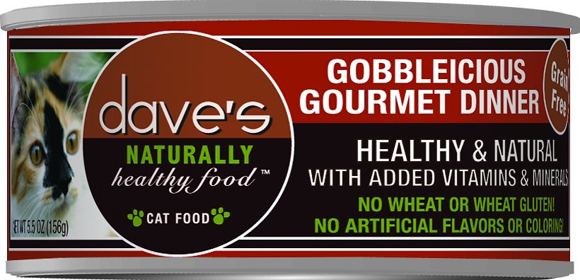 Dave's Cat Food Naturally Healthy Grain-Free Gobbleicious Gourmet Dinner Canned Cat Food, 5.5-oz