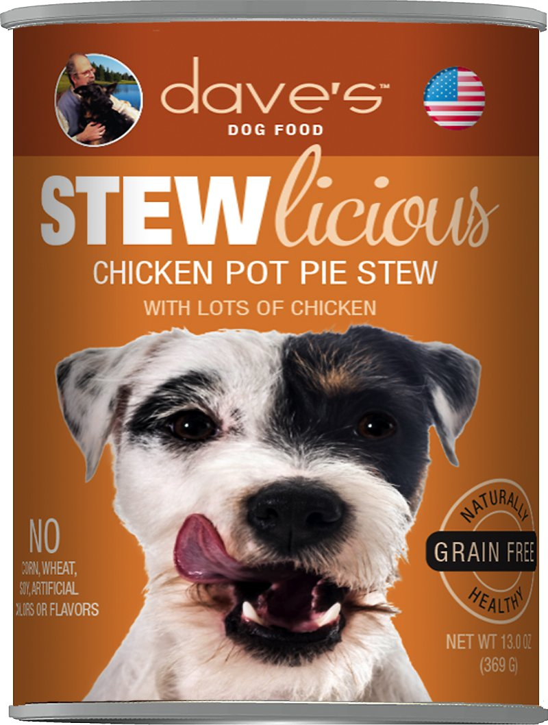 Dave's Dog Food Stewlicious Grain-Free Chicken Pot Pie Stew Canned Dog Food, 13-oz