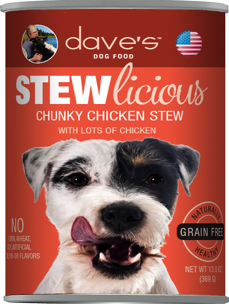 Dave's Dog Food Stewlicious Grain-Free Chunky Chicken Stew Canned Dog Food, 13-oz